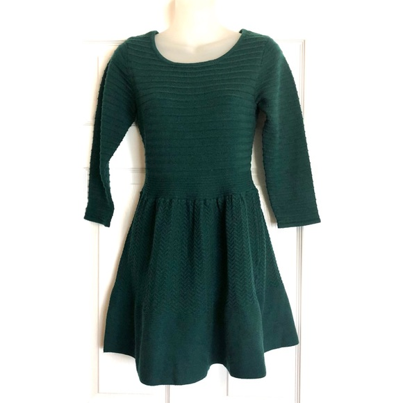 Jessica Simpson Green Fit and Flare Sweater Dress
